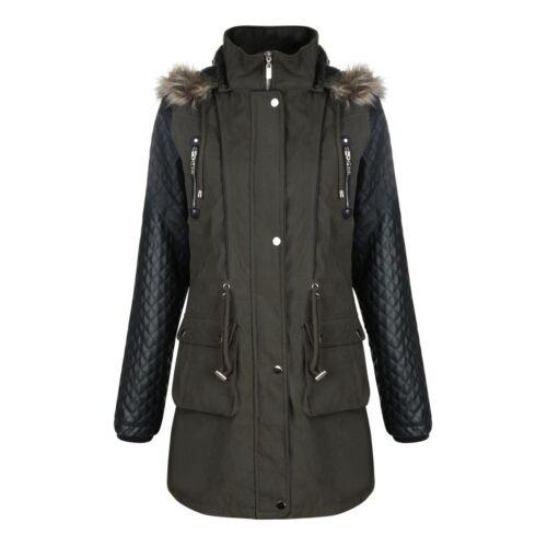 manteau Nouveau Femmes Designer Jess Parka Veste à capuche Bordée de Fausse Fourrure Pu Manches