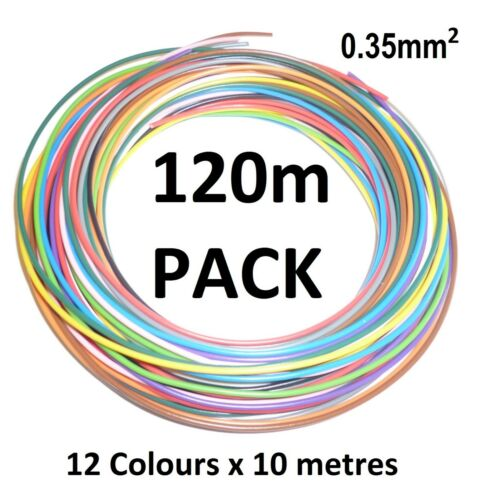 0.35mm THIN WALL COPPER CORE AUTO CABLE 7A - 12 Colours - 120 metres (12 x 10m)