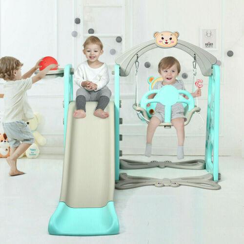 Indoor Outdoor Kids Play Slide Set Climber Playset Playground Swing Toddler Baby