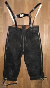 Kinder-Kniebund-LEDERHOSE-Trachtenhose-Hose-in-schwarz-ca-Gr-134