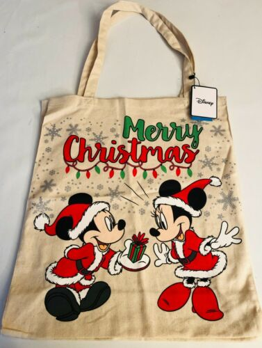 PRIMARK DISNEY MICKEY MINNIE MOUSE CHRISTMAS CANVAS TOTE SHOPPING BAG BN