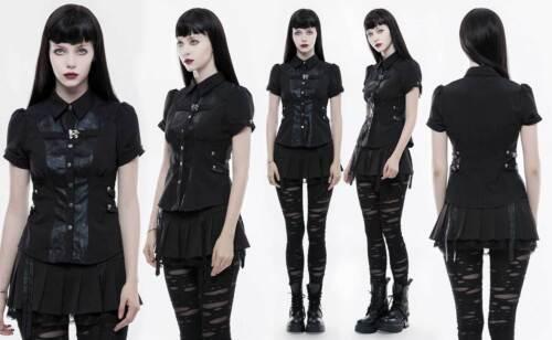 PUNK RAVE Gothic Kurzarm-Bluse Schwarz Damen Shirt Steampunk Dystopia Victorian