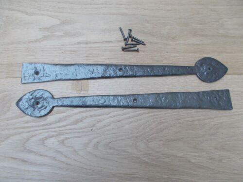 Pair of ANTIQUE IRON gothic tudor cast iron dummy false hinge fronts