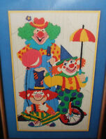 Vtg Printed At The Circus Colorful Clowns Long Stitch Needlepoint Kit Wool