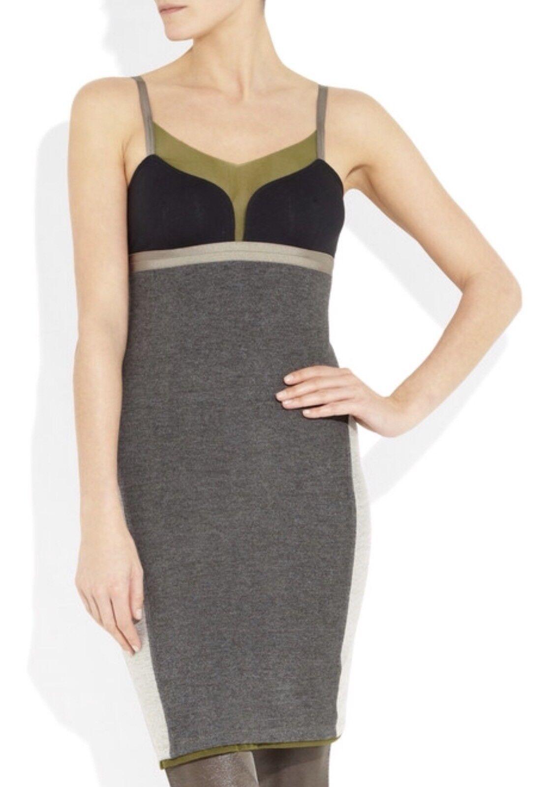 Body Con grau Panel Dress Größe XS UK 6 8 - VPL Asher Stretch - Terry