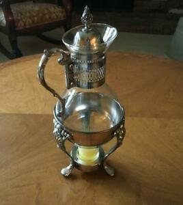 Vintage-Coffee-Carafe-With-Footed-Warmer-Silver-Plated-Serving-Piece