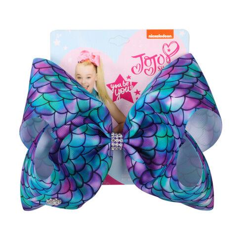 8 inch JOJO SIWA BOWS 2019New Colorful Mermaid Series Girl Kids Hair Bow Bowknot