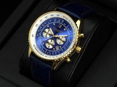 "Armband- & Taschenuhren Uhren & Schmuck Calvaneo 1583 Defcon Diamond Shiny Blue Gold "" Pilotenchronograph SchöN Sk 1.480 Eur"