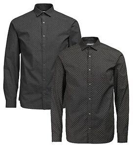 Jack-amp-Jones-Premium-Motivo-Manica-Lunga-Aderente-da-Uomo-Camicia-di-Cotone