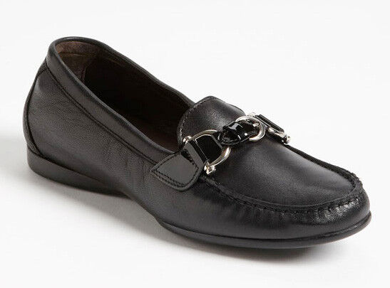 NEW AGL Black Nappa Leather Moccasin Loafer Flat /US 12.5 ATTILIO GIUSTI
