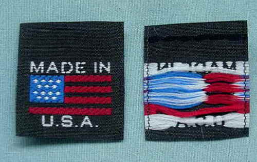 1000 pcs WOVEN CLOTHING LABELS CARE LABEL BLACK MADE IN USA AMERICAN FLAG