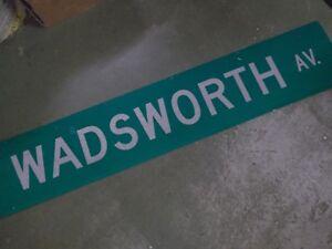 """LARGE Original N WARREN AV Street Sign 60/"""" X 12/"""" White on Green"""
