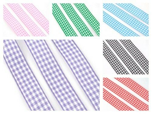 5 Mtrs of Premium Quality Micro Gingham Ribbon lady-muck1 10mm /& 15mm