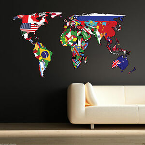 Full colour world map atlas bedroom wall sticker decal mural image is loading full colour world map atlas bedroom wall sticker gumiabroncs Image collections