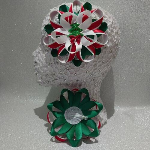 red//white//green large Romany hair bows Handmade Holly and Christmas tree