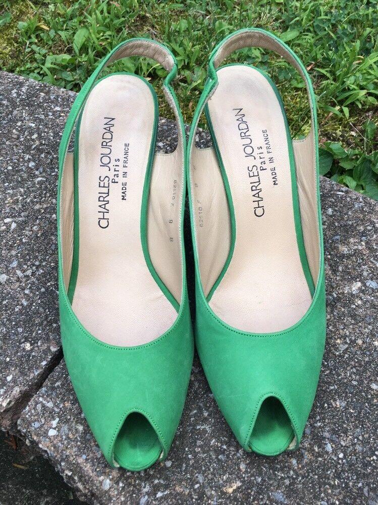la migliore moda CHARLES JOURDAN KELLY verde SUEDE LEATHER PEEP TOE SLINGBACKS SLINGBACKS SLINGBACKS PUMPS 9 B FRANCE  acquisti online