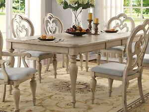 Absolon French Country 66 86 Dining Room Set Table 4 Side Chairs Antique White Ebay