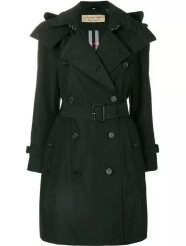 Burberry London Womens Detachable Hood Trench Coat