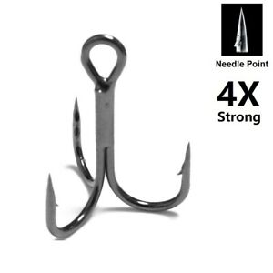 4X-Strong-30-Hooks-for-Each-Pack-Black-Nickle-Needle-Point-Treble-Hooks-FH87HP30
