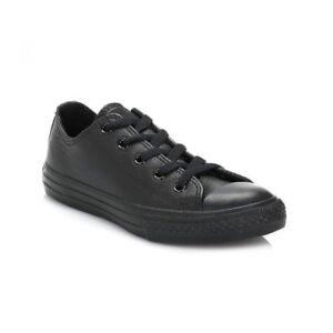 Détails sur Converse en cuir Garçon Enfants Lacets Solide Noir Baskets Décontractées Chaussures Pour Enfants afficher le titre d'origine
