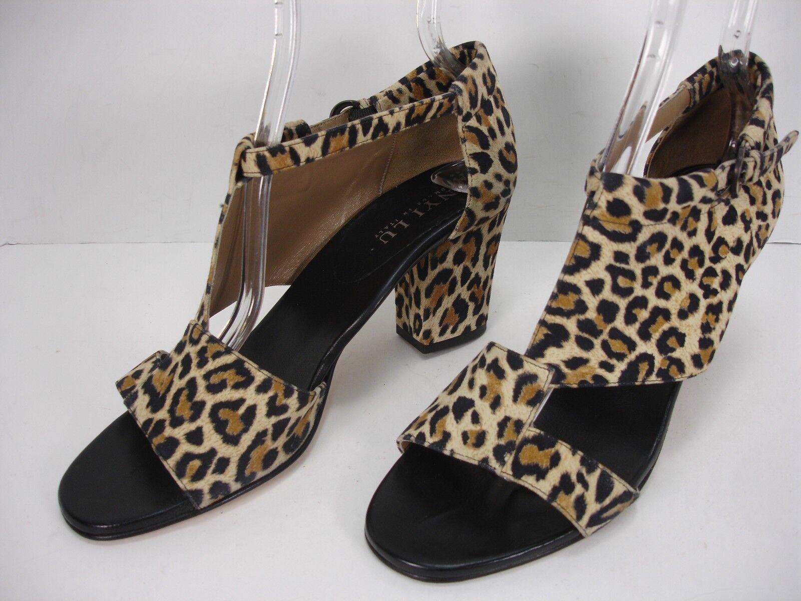 ANYI LU ELECTRA NUBUCK SUEDE LEOPARD PRINT OPEN TOE SANDALS chaussures femmes 39.5