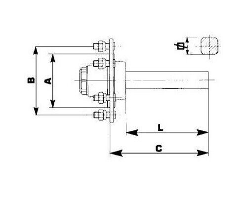 Achsstummel 6x M18 Vierkant 50mm von ADR  Anhänger Achse  Wagenbau Fahrwerk