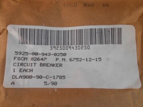 MS24571-15  TEXAS INST AIRCRAFT TYPE  CIRCUIT BREAKER  NEW OLD STOCK  6752-12-15