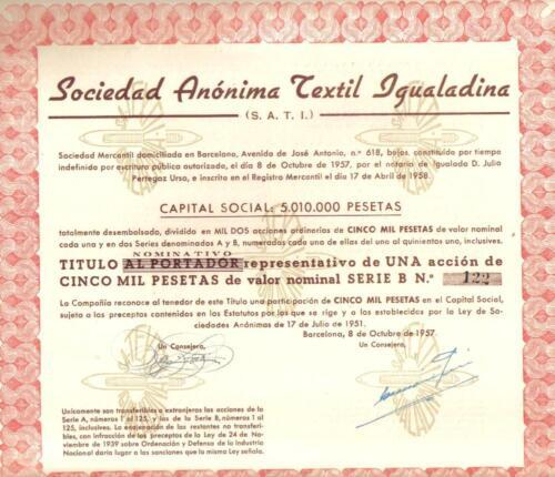 Spain bond 1957 Textile Igualadina Co 5000 p serie B