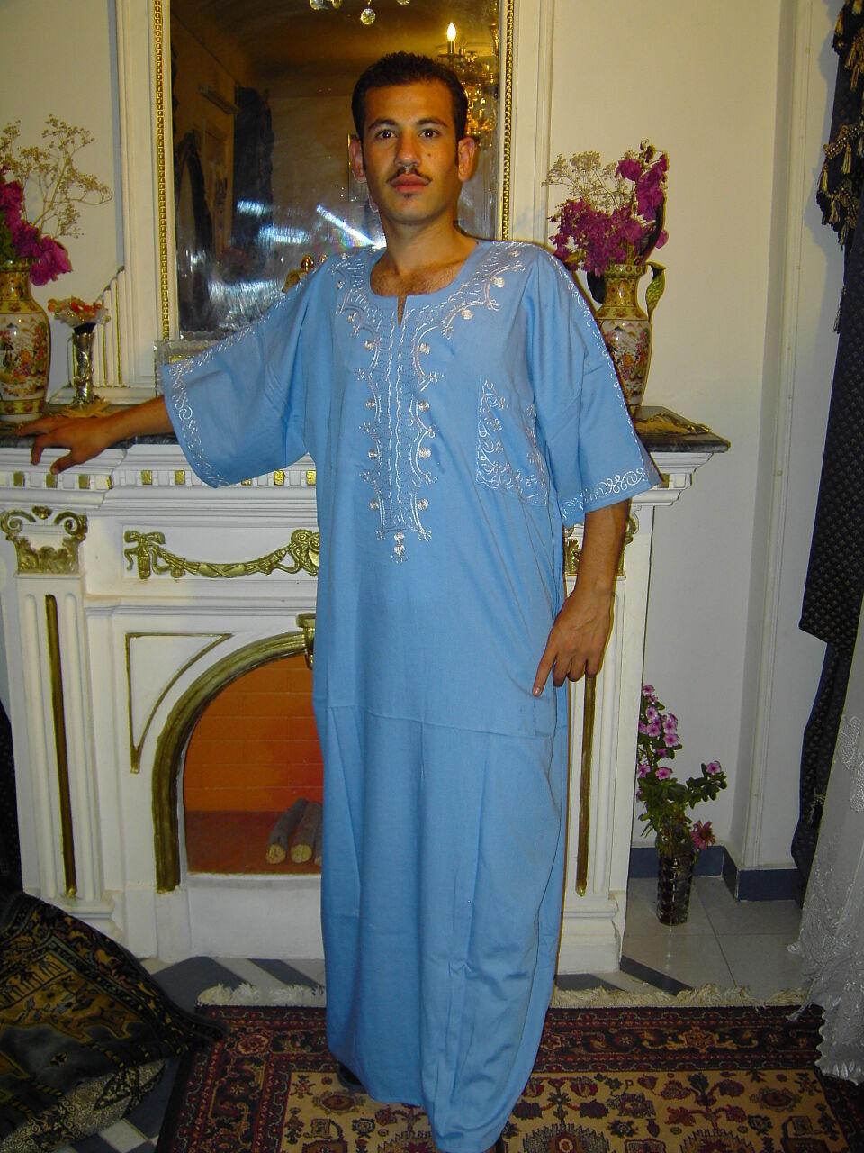Beautiful Elegant Modern Men's Caftan Aus1001 Night Light bluee Kam00301