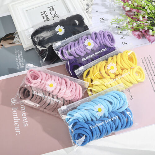 50pc Girls Colorful Elastic Hair Ropes Tie Gum Scrunchie Ring Rubber Bands