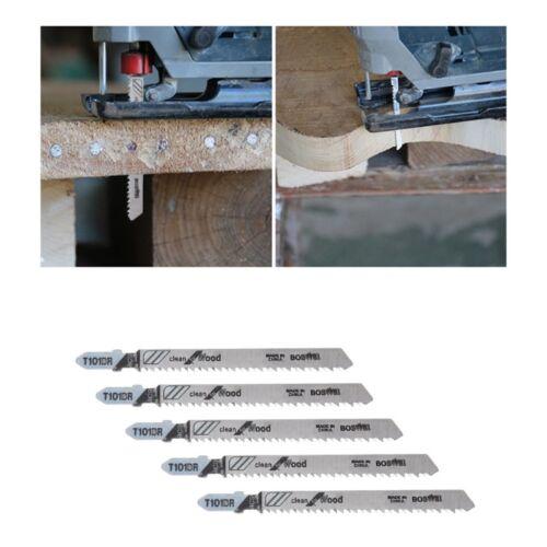 5 Pcs 100mm T101BR HCS Jigsaw Blades Clean For Wood Laminated Board Cutting