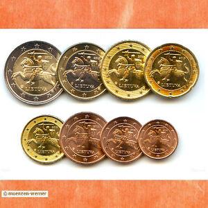 Kursmuenzensatz-Litauen-2015-1c-2-Euro-Muenze-KMS-alle-8-Muenzen-Satz-Eurosatz-Set