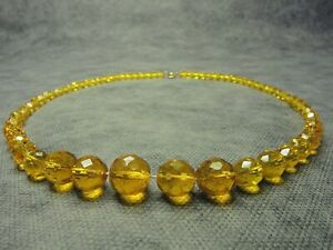 Vintage-Czech-Bohemian-Yellow-Faceted-Glass-Bead-necklace
