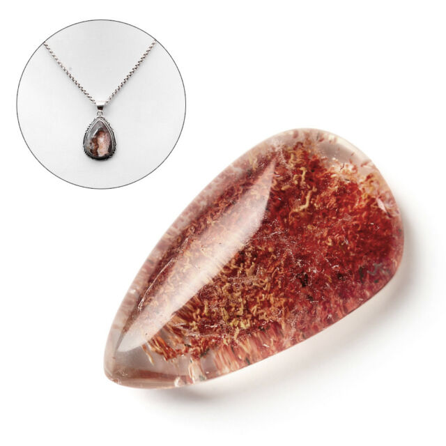 Gemstone Natural Ghost Crystal Phantom Stone Healing Ornament Pendant Quartz