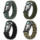 Paracord Survival Bracelet Compass Flint Fire Starter Whistle Scraper Gear Kits
