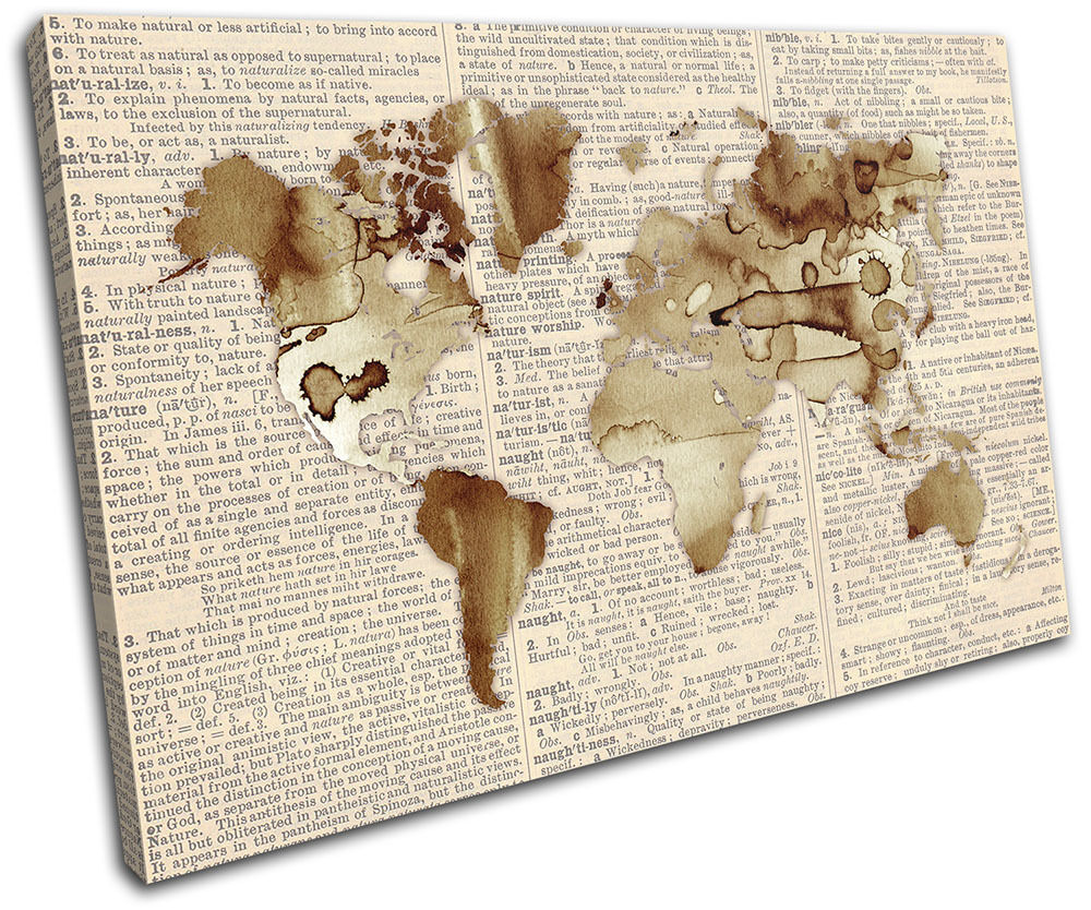 World Atlas Antique Book Maps Flags SINGLE Leinwand Wand Kunst Bild drucken