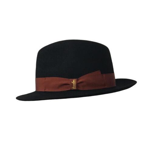 BORSALINO cappello uomo nero con grò ruggine mod 160217 TRILBY MADE IN ITALY