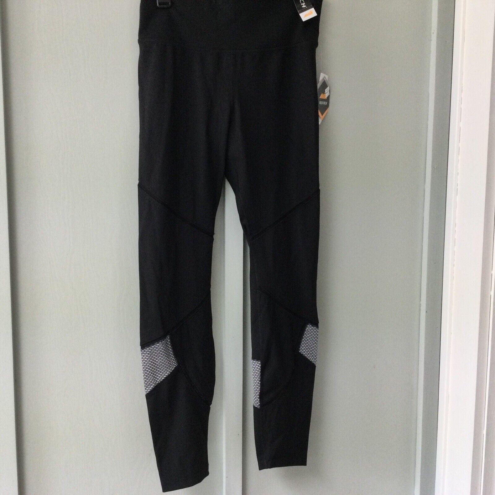 AVIA Womens Medium 8-10 Athletic Crop Capri Leggings Pants Black Flex Tech New