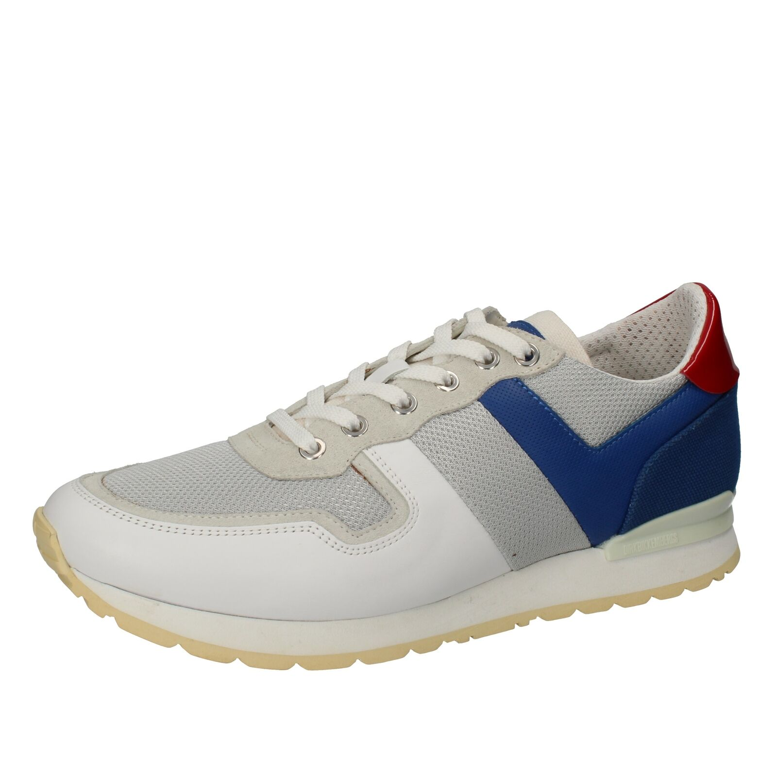 DZ453 BIKKEMBERGS EU 42 US 9 shoes white textile leather men sneakers