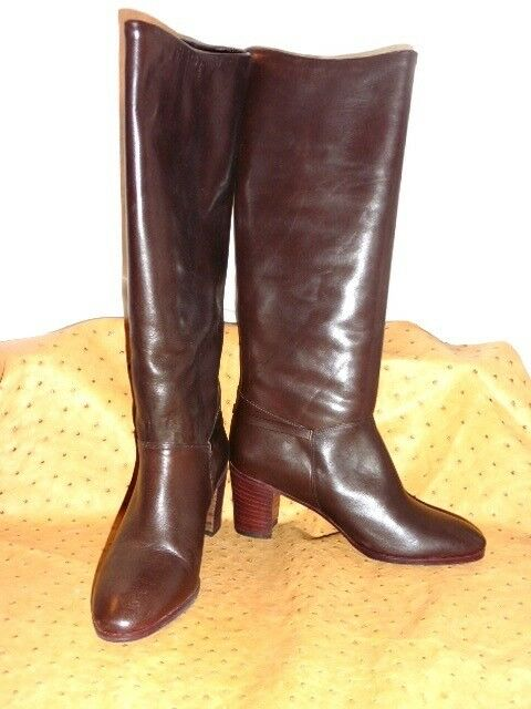 SUPERB BOOTS ALL BROWN LEATHER VINTAGE 70 T.36 OLD STOCK NEW