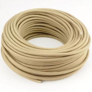 Textilkabel-Leitung-Faser-umflochten-rund-Abaca-Silicea-Beige-3x0-75-H03VV