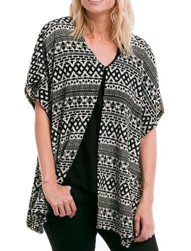 Ladies Plus One Size Geometric Cardigan Kimono Top to Fits UK Sizes 18-34
