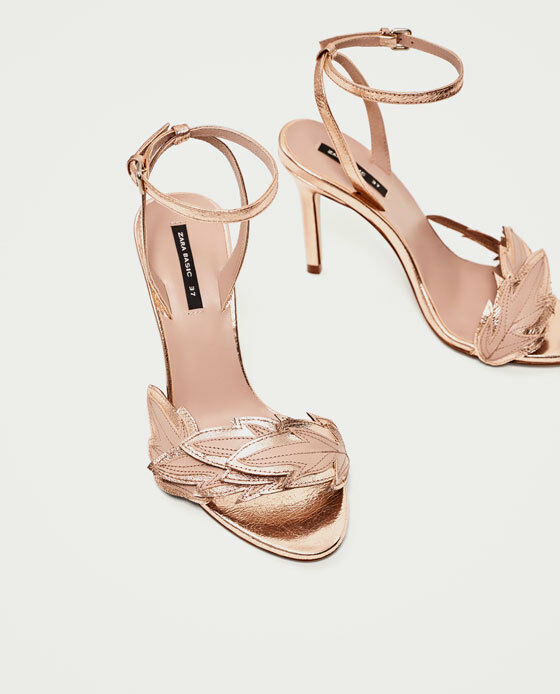 Zara HIGH HEEL SANDALS WITH 11 LEAF DETAIL Pink US 11 WITH EU 42 UK 9 05f3b9