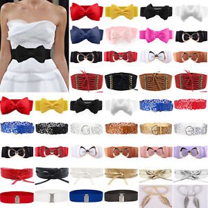 Womens-Stretch-Buckle-Waist-Belt-Bow-Wide-Leather-Elastic-Cinch-Corset-Waistband