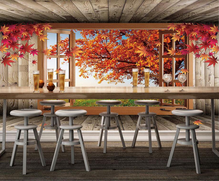 3D Ahorn Rasenfenster 58 Tapete Tapeten Mauer Foto Familie Tapete Wandgemälde DE
