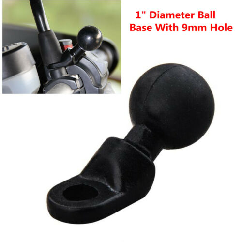 "1x Black Aluminum Motorcycle Mount Base with 9mm Hole and 1/"" inch Diameter Ball"