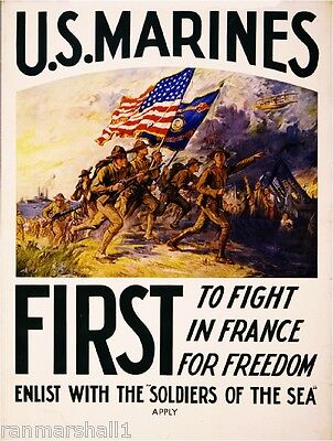 1915 Join the Marines WWI American Patriotic Wartime Advertisement Poster Print