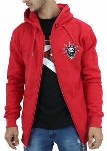YLD-Men-039-s-Red-Zip-Up-Hoodie-New-Jacket-Hip-Hop-Star-Era-Gym-Is-Time-Money-G