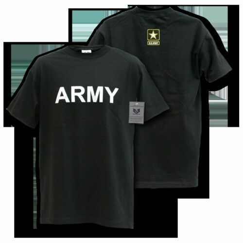 ARMY TEXT STAR LOGO BLACK MILITARY  T-SHIRT S M L XL 2XL