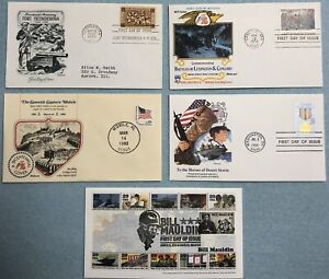 US-MILITARY-THEMED-SET-OF-5-MINT-CONDITION-FIRST-DAY-ISSUE-STAMP-COVERS-MNH